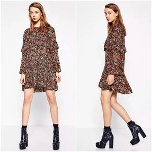 Zara ruffle floral print mini dress